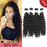 IMAYLI Brazilian Deep Wave Virgin Hair 4 Bundles Deep Curly Human Hair Weave Unprocessed Deep Wave Human Hair Bundles 100% Remy Human Hair Extensions Natural Black(20 20 20 20)