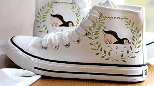 Aquarelle Femmes Filles Animaux Penguin Panda Chaussures Toile Sneakers Blanc 3