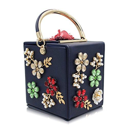 Women's Clutches Handbag Beaded Flower Box Evening Bag Wedding Party Purse Navy Blue (Purse Box)