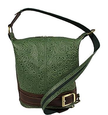 45568b47341e4 Schöne praktische Leder Grüne Handtasche aus Leder Adele Stampa Verde über  die Schulter
