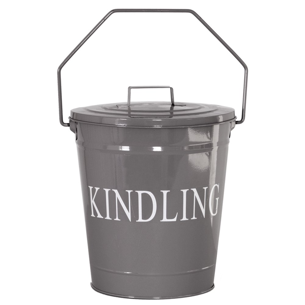 Home Discount Kindling Bucket Lid Wood Metal Garden Fireside, Grey Slate