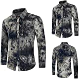 Spbamboo Mens Shirts Casual Long Sleeve Fashion Printed Slim Top Blouse Clothing