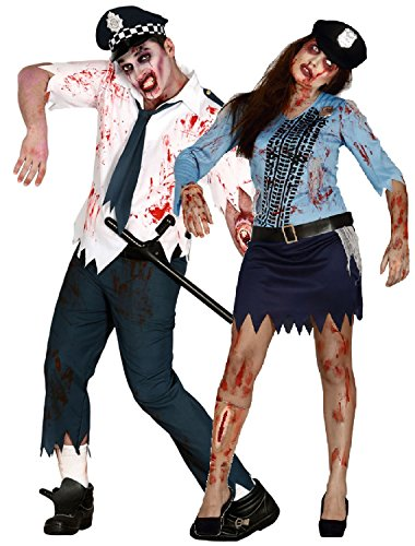 Couples Ladies and Mens Dead Bloody Zombie Police Man Police Woman Officers Cops Halloween Fancy Dress Costumes (Men: Large - Ladies UK 12-14)