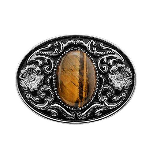 - QUKE American Western Cowboy Tiger Eye Stone Belt Buckle Flower Pattern
