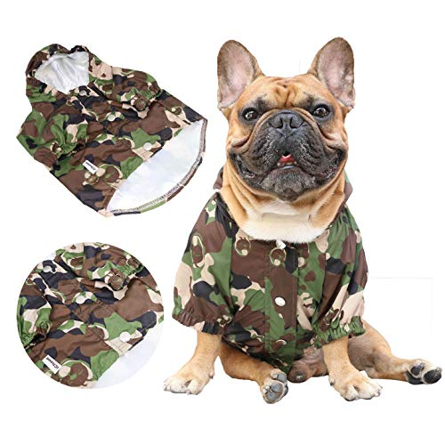 iChoue Pet Dog Hoodie Clothes Windproof Waterproof Raincoat for English Bulldog Outwear Boston Terrier Outdoor Water Resistant Coat with Reflective Strips - Camouflage/Size XL