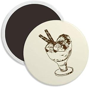 Brown Chocolate Bar Ice Glass Cream Ball Round Ceramics Fridge Magnet Keepsake Decoration