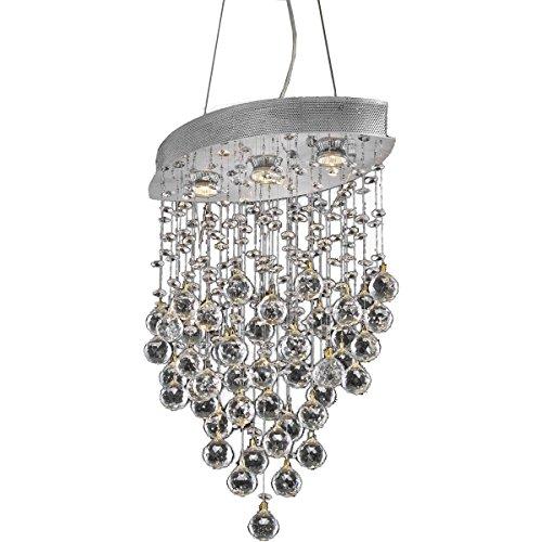 Elegant Lighting 2025D18C/EC Galaxy Collection 3-Light Hanging Fixture Elegant Cut Crystals with Chrome Finish Ec Galaxy Ceiling Pendant