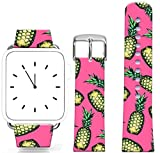 Iwatch Band Leather 42Mm Series 1 Series 2,Apple Watch Strap Genuine Leather Replacement 42Mm Vintage Pink Fruit Theme