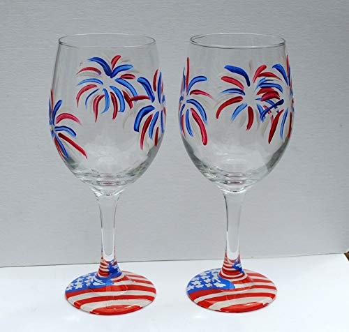 Fireworks USA American Flag Hand Painted Stemmed Wine Glasses 20 oz Set of 2 ()