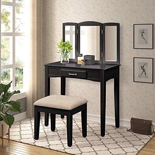 - Harper&Bright Designs Vanity Table Set with Tri-Fold Mirror and Stool Make-up Dressing Table Make up Desk Vanity (Black)