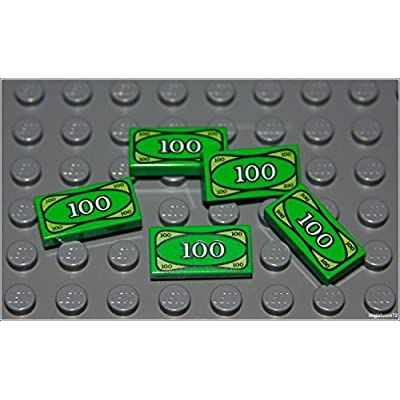 Lego Batman x5 Green Money Tile City $100 Dollar Bill Bank Cash Minifigure New: Toys & Games