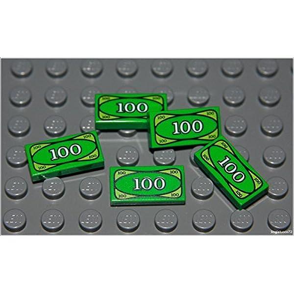 LEGO 100 GREEN MONEY TILE X 50 NEW CITY MINIFIGURE ROBBER DOLLAR