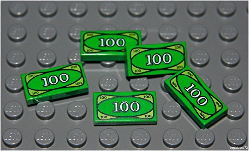 Lego Batman x5 Green Money Tile City $100 Dollar Bill Bank Cash Minifigure New
