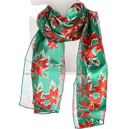Satin Lightweight Scarf Wraps, for Christmas Holiday, Square Silk Feel Scarves, Poinsettia Green