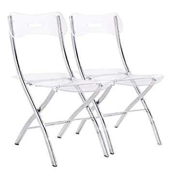 INSIDE Lot De 2 Chaises Pliantes Widow En Plexiglas Transparent