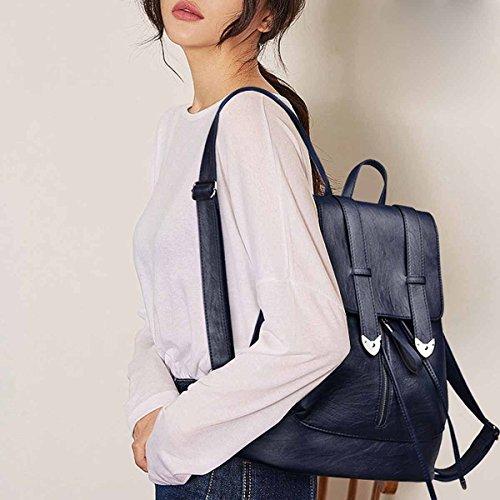 Grande Sacchetto Capacità Nuova Blu Semplice Donna Zaino Pu Modo Stile Di qxFqw6fz