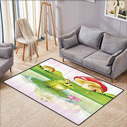 Bath Rug Slip Animal Decor Illustration of Cute Frog on Water Lily with Mushrooms on The Background Nature Lake Art Print Multi Machine wash/Non-Slip W4'9 - Sassy Pad Lily