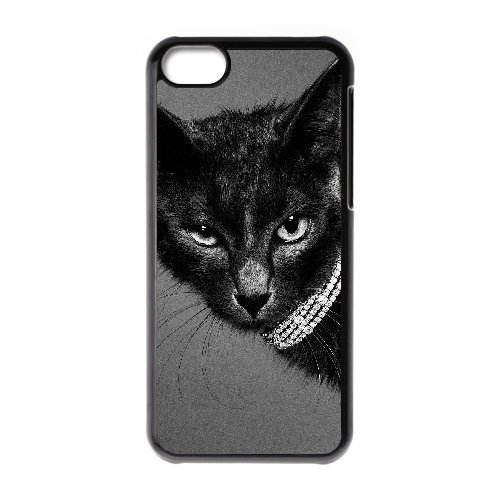 Personality customization Diy Beautiful Cute Little Cat Custom Cover Phone Case for iphone 5c Black Shell Phone [Pattern-6] By CUY Cases