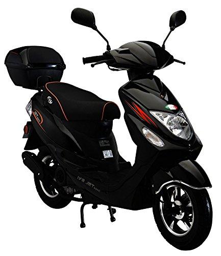 IVA Motorroller NEW JET 50 ccm inkl. Topcase, Schwarz 25km/h