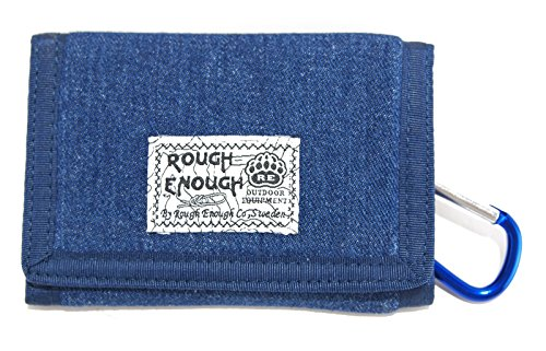 Rough Enough Denim Canvas Vintage Blue Classic Stylish Wallet Purse For Coins Holder Organizer Case With Zippered Pockets Trifold Coin Pocket - Denim Checkbook Cover