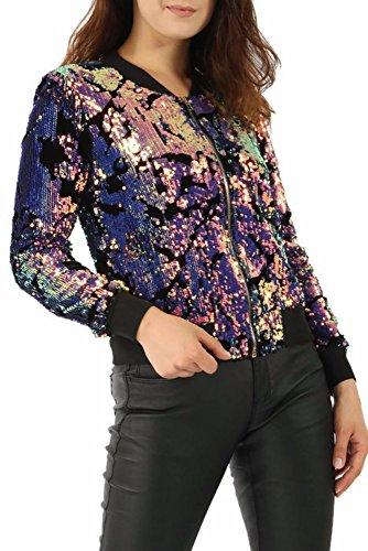 Missi - Blouson - Teddy - Femme violet multicolore