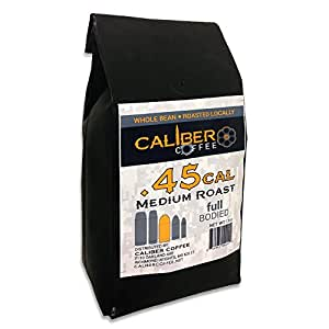 .45 Cal Smooth Roasted Coffee Beans Strong on Flavor High in Caliber Caffeine Rich 12 Ounce - Whole Bean