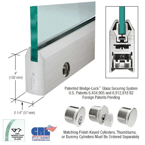 Brushed Stainless 4'' Tapered Door Rail With Lock for 5/8'' Glass - 35-3/4'' Length