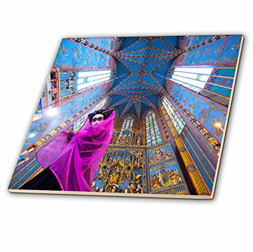 3dRose Danita Delimont - Poland - Composite of woman in Carnival costume in cathedral,Krakow, Poland - 8 Inch Glass Tile (ct_249380_7) (Poland Costume)