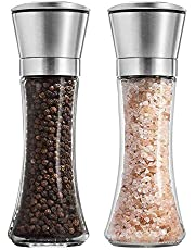 Salt and Pepper Shakers Grinders Set Refillable Stainless Steel,Adjustable Coarseness Mills Glass Material to Refill Sea Salt,Small Peppercorn,Black Pepper,Fits in Home,Kitchen,Barbecue,Party (LTT2)