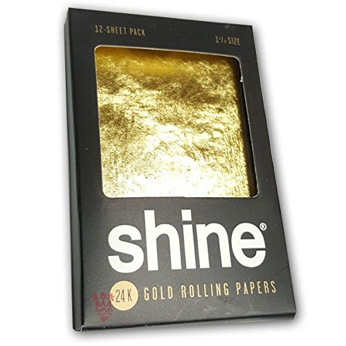 Shine 24K Gold Rolling Papers 1.25 Size - 12 Sheet Party Pack by Shine