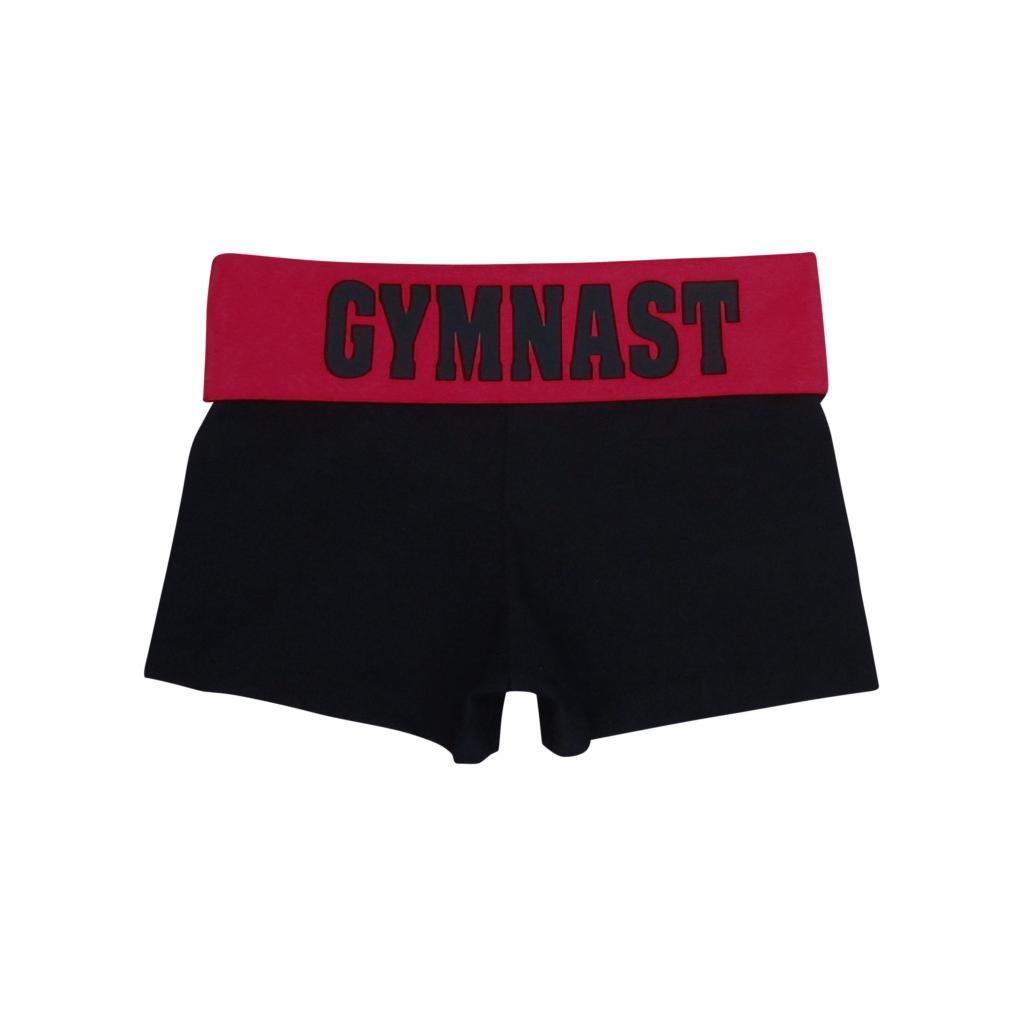 Black//Red Gymnast Foldover Yoga Shorts