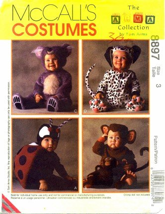 McCall's 8897 Sewing Pattern Tom Arma Lady Bug Monkey Koala Bear Dalmatian Costumes Size 3