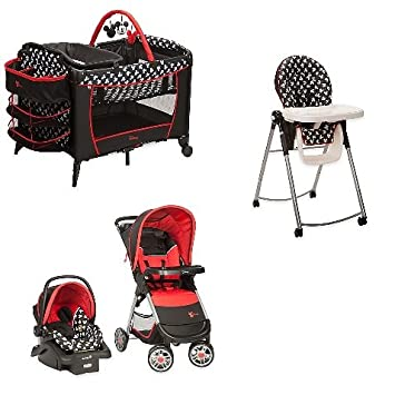 Disney 4 Pc Set Mickey Mouse Newborn Infant Baby Boy Travel System Stroller Car Seat