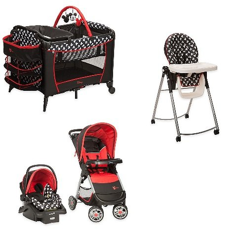 Disney Newborn Play Yard - Disney 4 Pc. Set Mickey Mouse Newborn Infant Baby Boy Travel System Stroller Car Seat High Chair Crib Play Yard