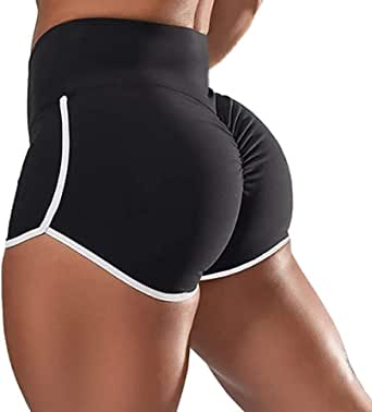 SEASUM Women Workout Scrunch Butt Short Pants Fitness Yoga Casual Leggings High Waist Gym Bottom