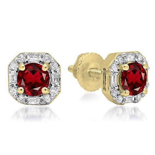 10K Yellow Gold Round Garnet & Baguette & Round White Diamond Ladies Halo Style Stud Earrings ()