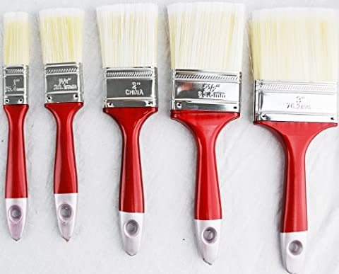 Comfortable Grip 5-Piece Time Saver Better Quality Brush Set - Quality Interior Latex Paint Semi
