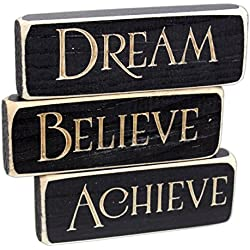 "Heartwood Hollow Set of 3 5"" x 1.5"" Inspirational Engraved Wood Block Signs (Achieve Dream Believe)"