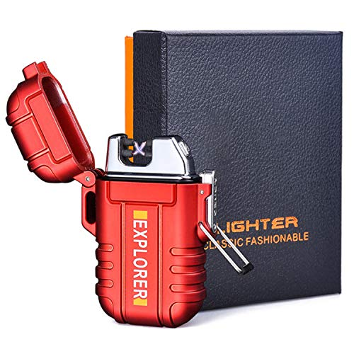 Plasma Lighters, Waterproof Windproof Flameless Lighters Dual Arc USB Electric Lighters Rechargeable for Outdoor/Camping/BBQ/Hiking (red)