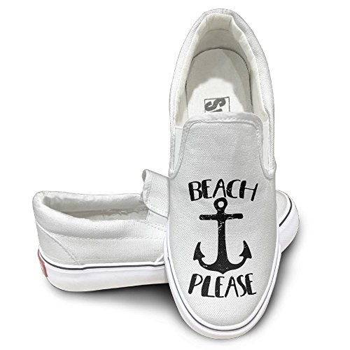 Sh Rong Beach Please Unisex Canvas Sneakers Shoes Size 36 White
