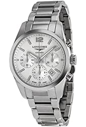 Longines Conquest Silver Dial Chronograph Stainless Steel Mens Watch L27864766