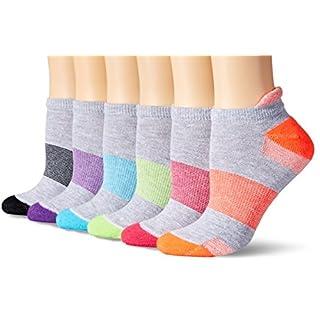 Hanes Women's 6-Pack Sport Cool Comfort Heel Shield, Grey Heather/Multi/Color Assortment, 5-9