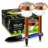 LongWalker Solar-Powered LED Garden and Pathway Lights: 2 Wireless, Weatherproof, Waterproof, Longlasting Stainless Steel Ground Lights plus Garden Hand Shovel