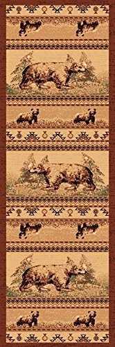 `2X7 Runner Country Theme Bear Bears In Woods Brown Rug by Persian Rugs