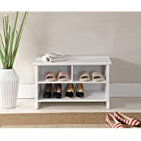 30 White Casual Transitional Wooden Shoe Storage Bench
