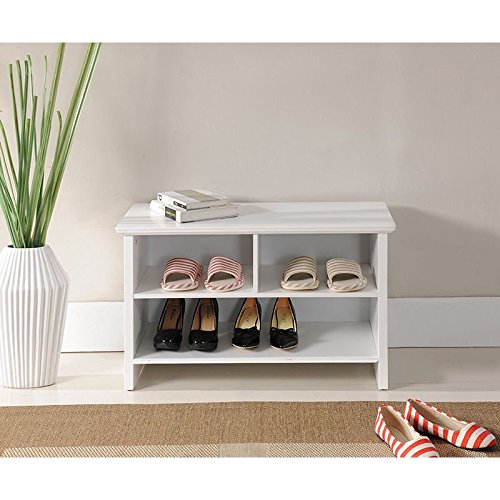 30'' White Casual Transitional Wooden Shoe Storage Bench by Generic