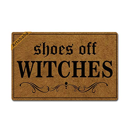 Artsbaba Halloween Doormat Shoes Off Witches Door Mat Rubber Non-Slip Entrance Rug Floor Mat Balcony Mat Funny Home Decor Indoor Mat 23.6 x 15.7 Inches, 0.18 Inch Thickness -