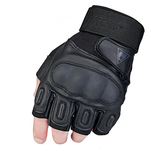 Viperade Tactical Fingerless Gloves for Men Military Rubber Hard Knuckle Half Finger |Heavy Duty Glove | Airsoft Glove for Cycling Hiking Camping Shooting - Black XL