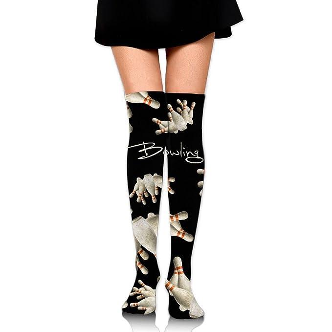 acaaf2312ab Amazon.com  Bowling Funny Womens Winter Knee High Socks Fancy Thigh ...