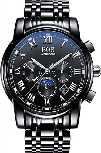 BOS Men's Quartz Analog Wrist Watch Chronograph Stainless Steel Black Band Black Dial 8006